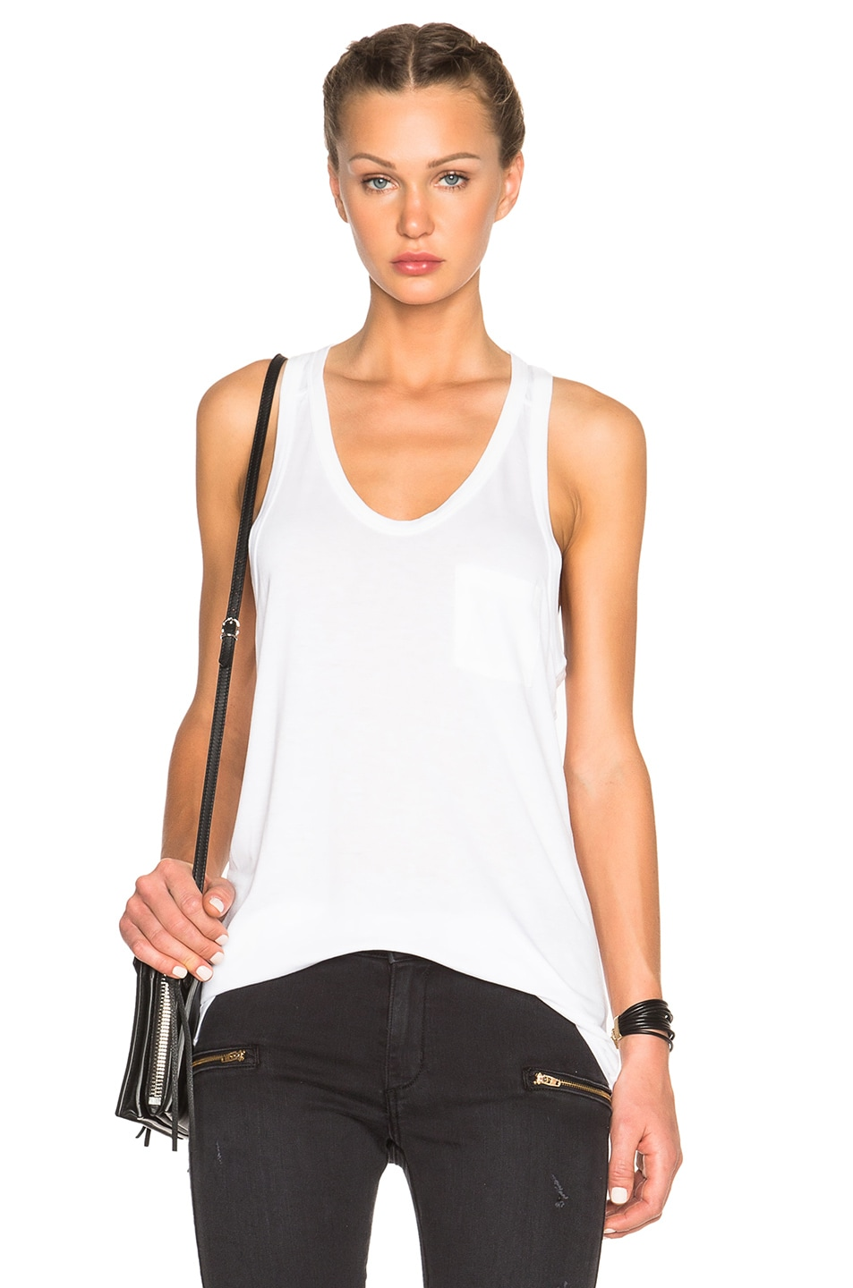 Image 1 of T by Alexander Wang Classic Viscose Tank in White