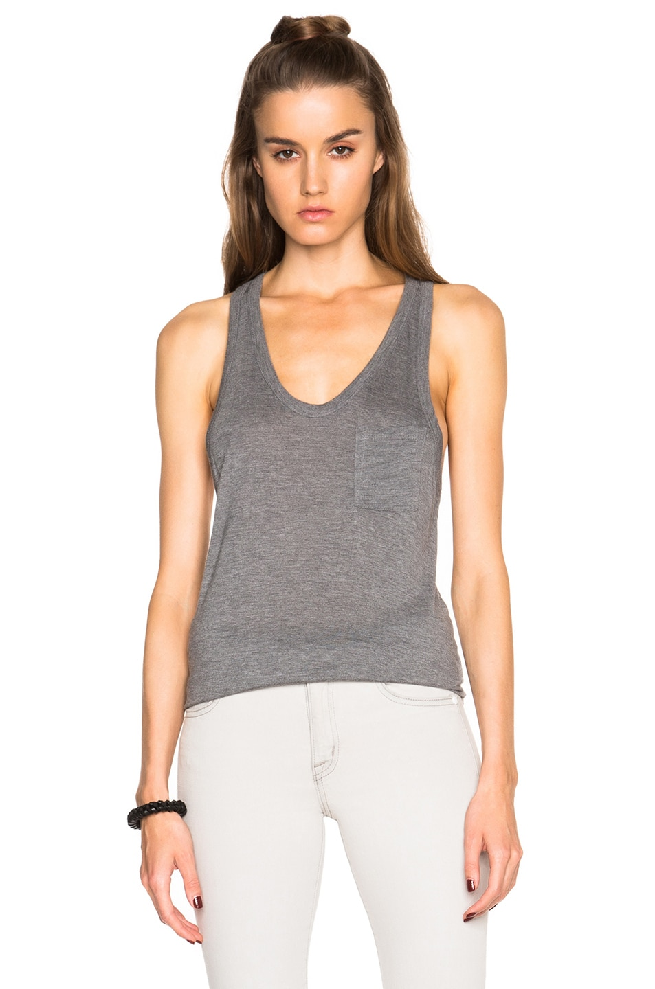 Image 1 of T by Alexander Wang Classic Tank with Pocket in Heather Grey