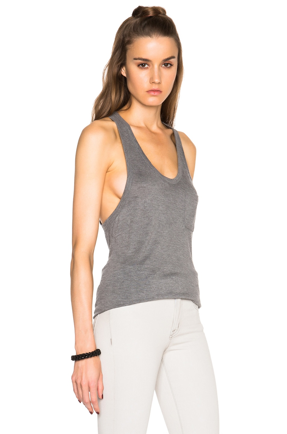 Image 3 of T by Alexander Wang Classic Tank with Pocket in Heather Grey