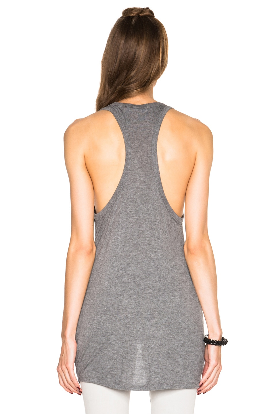 Image 4 of T by Alexander Wang Classic Tank with Pocket in Heather Grey