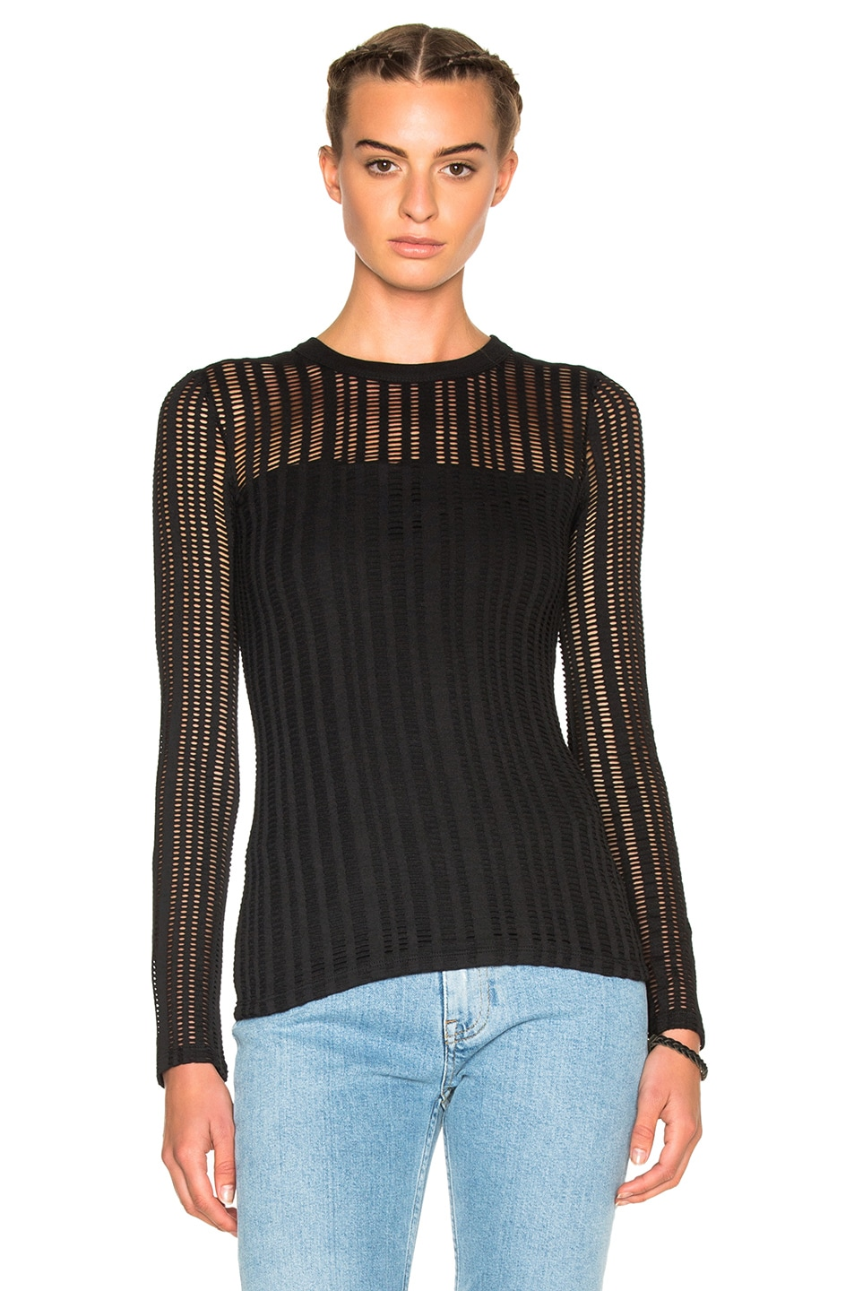 0e07a453a75 Image 1 of T by Alexander Wang Jacquard Long Sleeve Top in Black