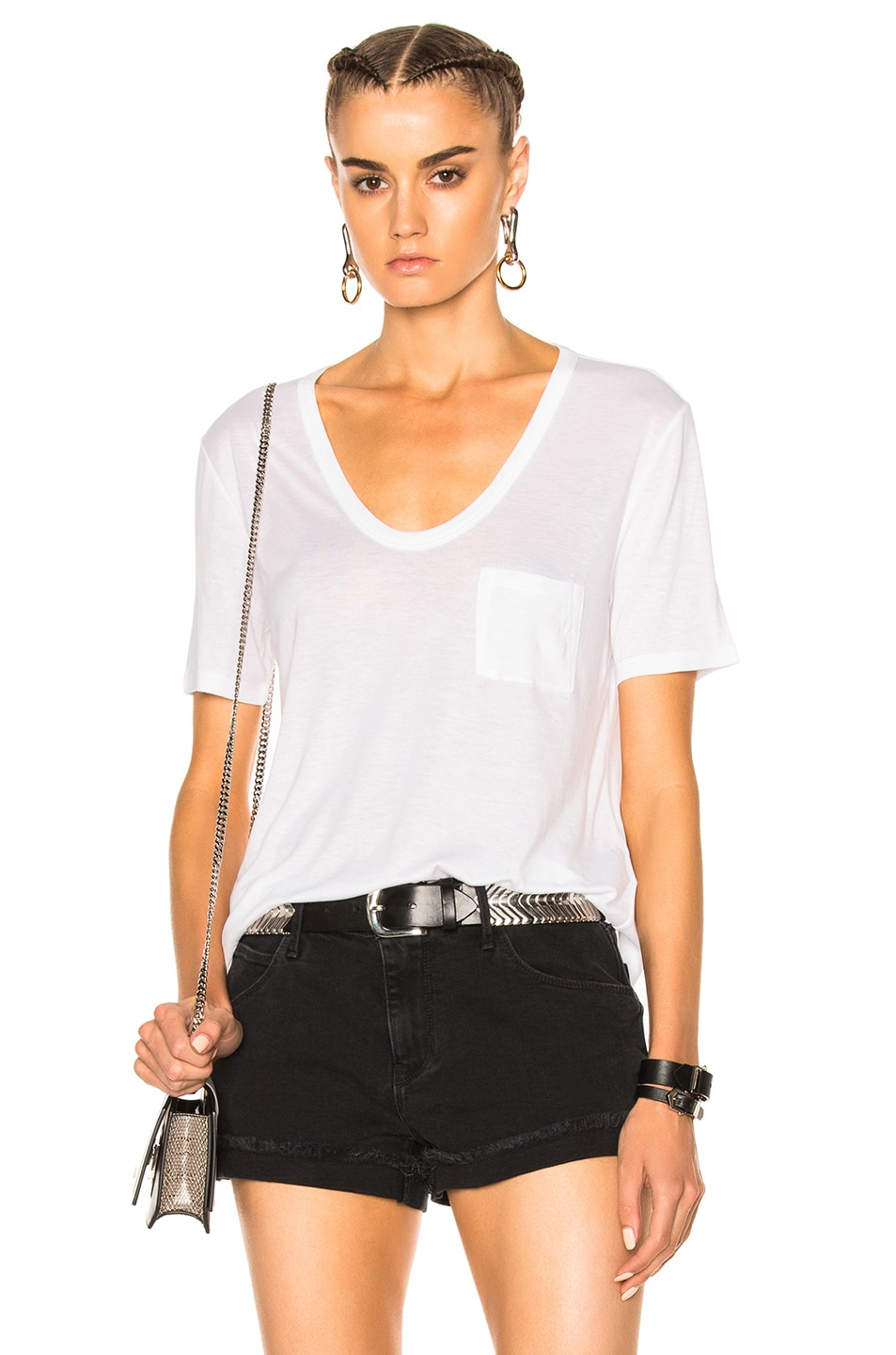 Image 1 of T by Alexander Wang Classic Cropped Tee in White