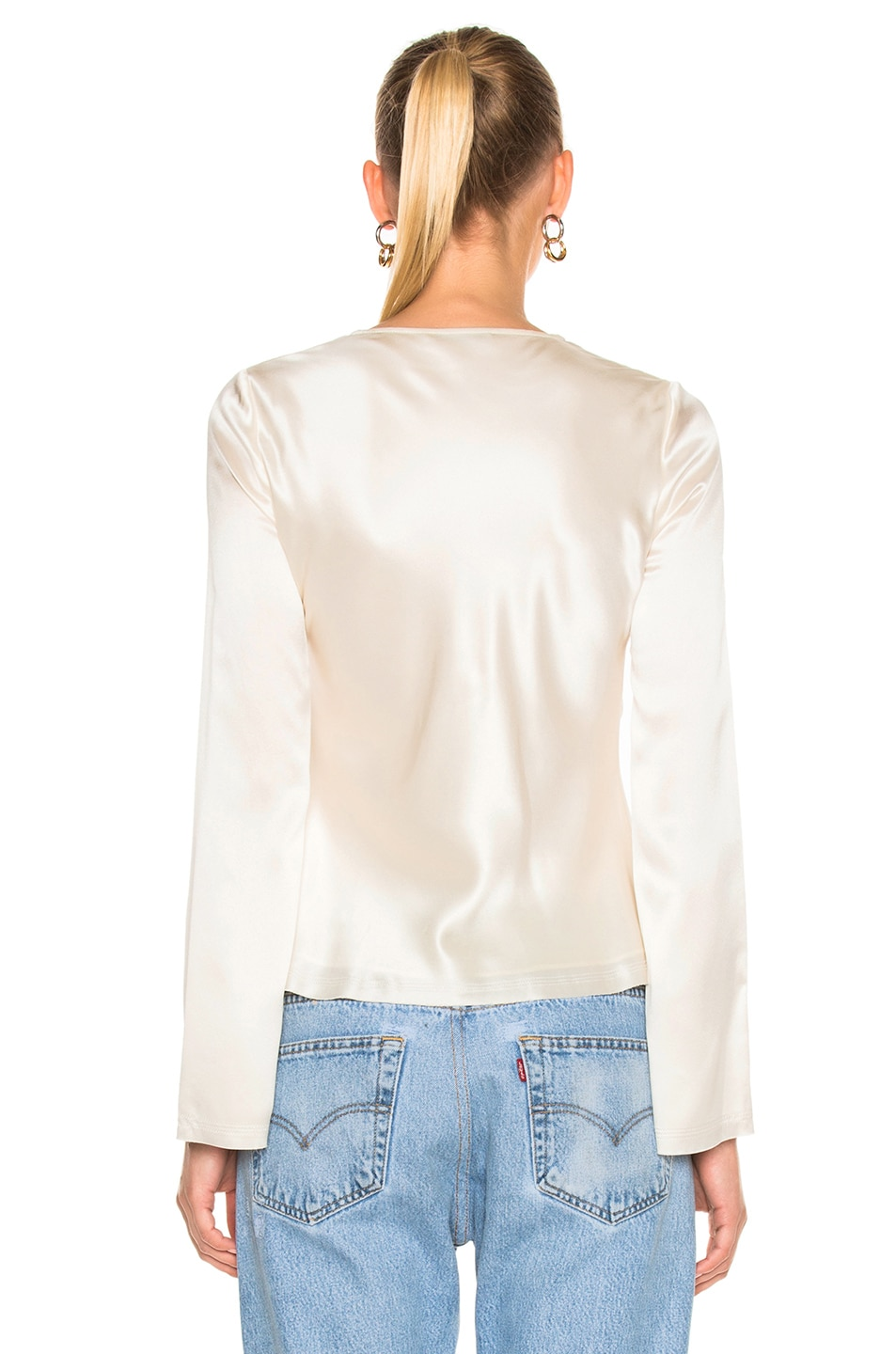 Image 4 of T by Alexander Wang Silk Charmeuse Tie Knot Long Sleeve Top in Ivory