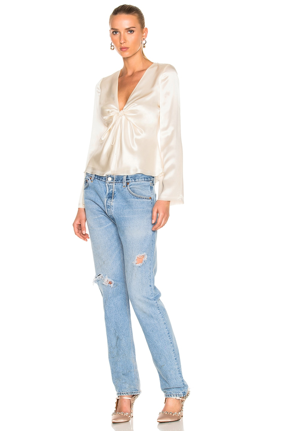 Image 5 of T by Alexander Wang Silk Charmeuse Tie Knot Long Sleeve Top in Ivory
