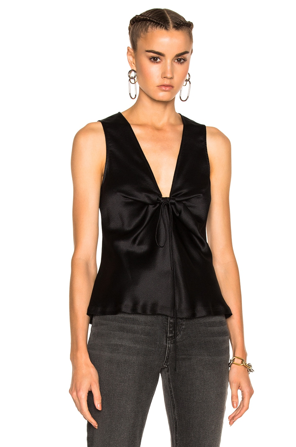 Image 1 of T by Alexander Wang Silk Charmeuse Tie Knot Sleeveless Top in Black