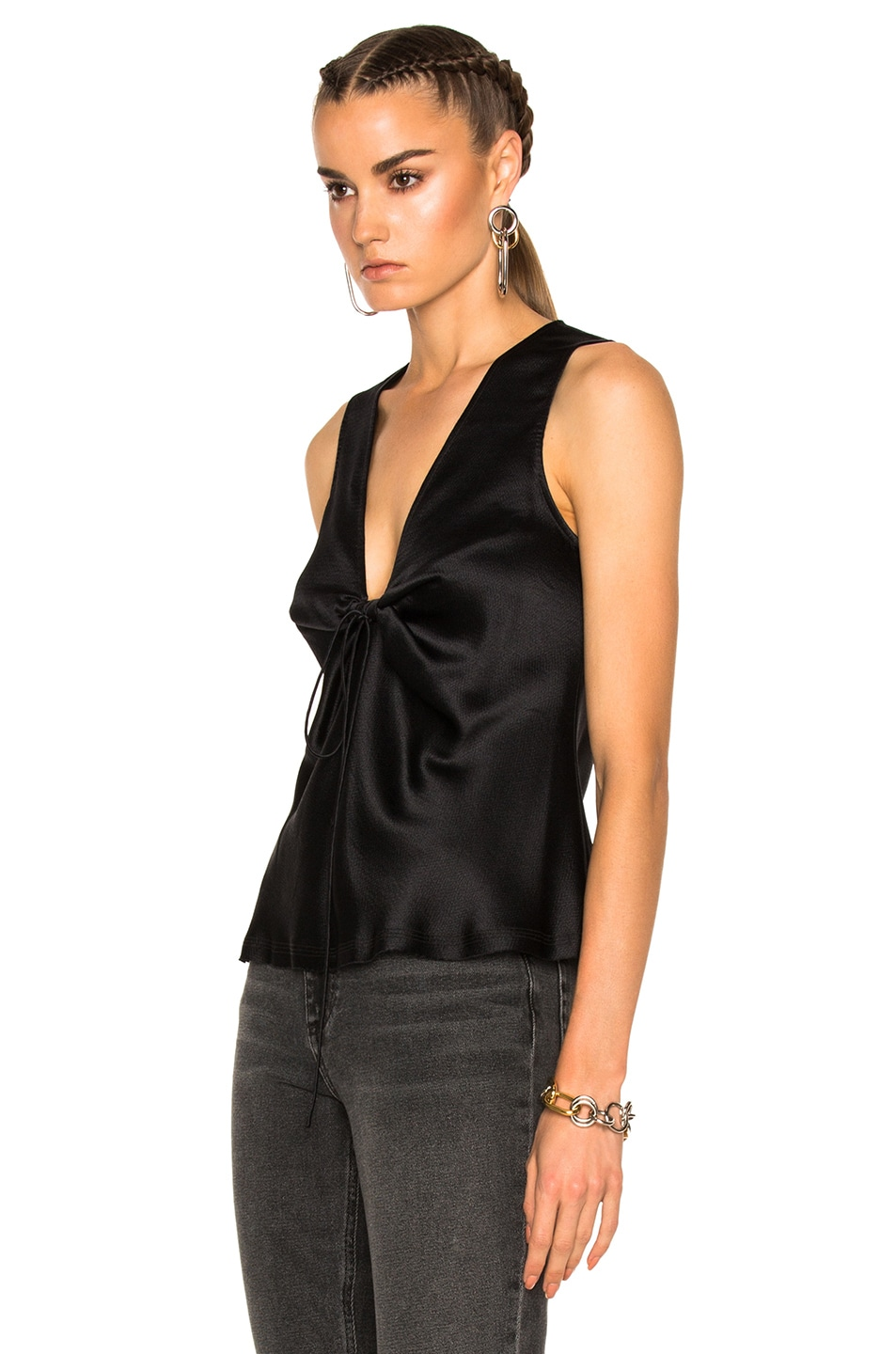 Image 2 of T by Alexander Wang Silk Charmeuse Tie Knot Sleeveless Top in Black