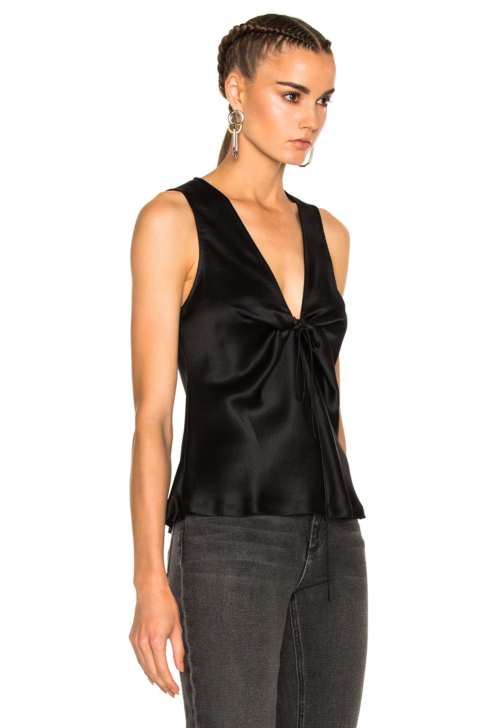 Image 3 of T by Alexander Wang Silk Charmeuse Tie Knot Sleeveless Top in Black