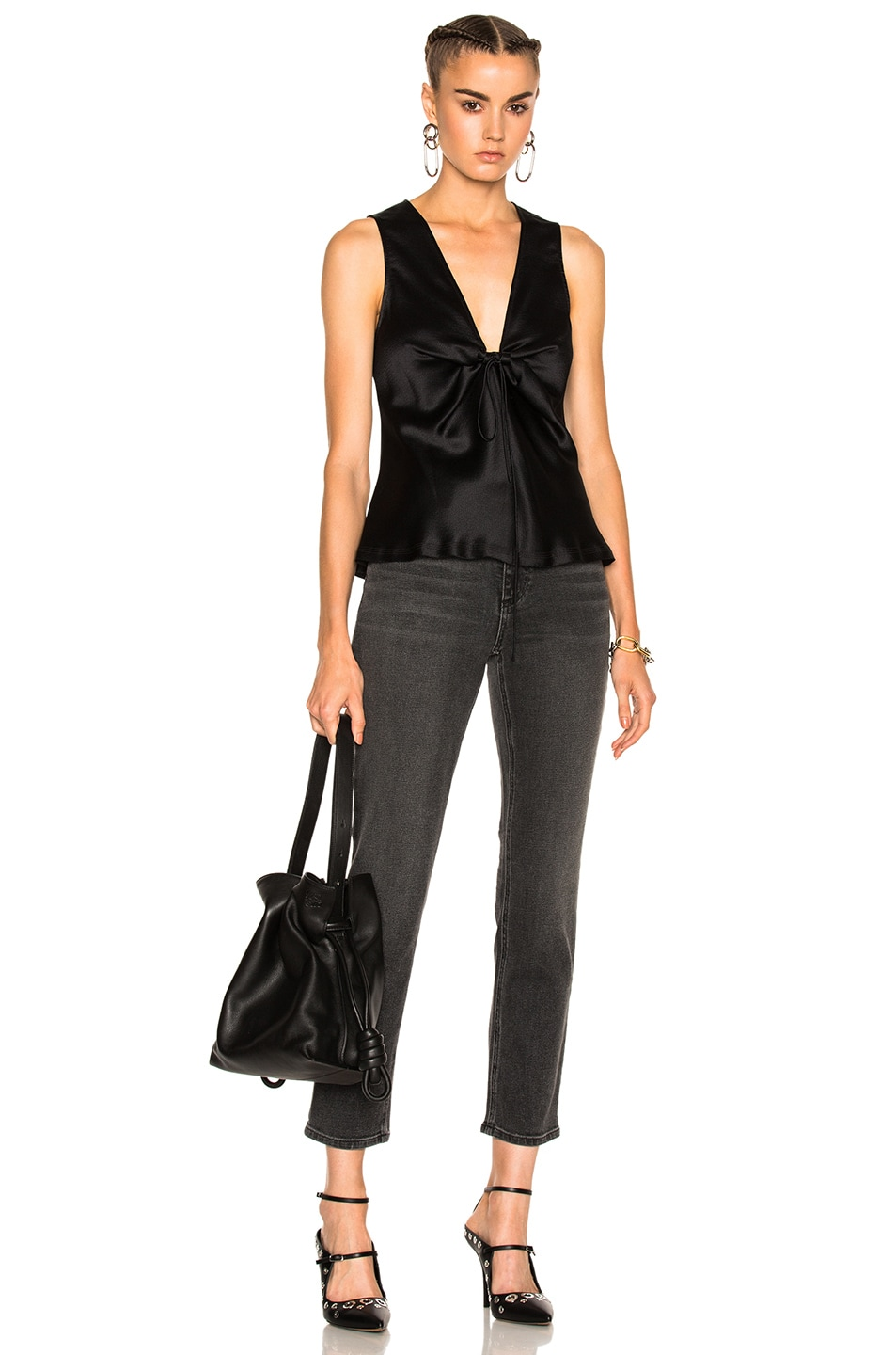 Image 5 of T by Alexander Wang Silk Charmeuse Tie Knot Sleeveless Top in Black