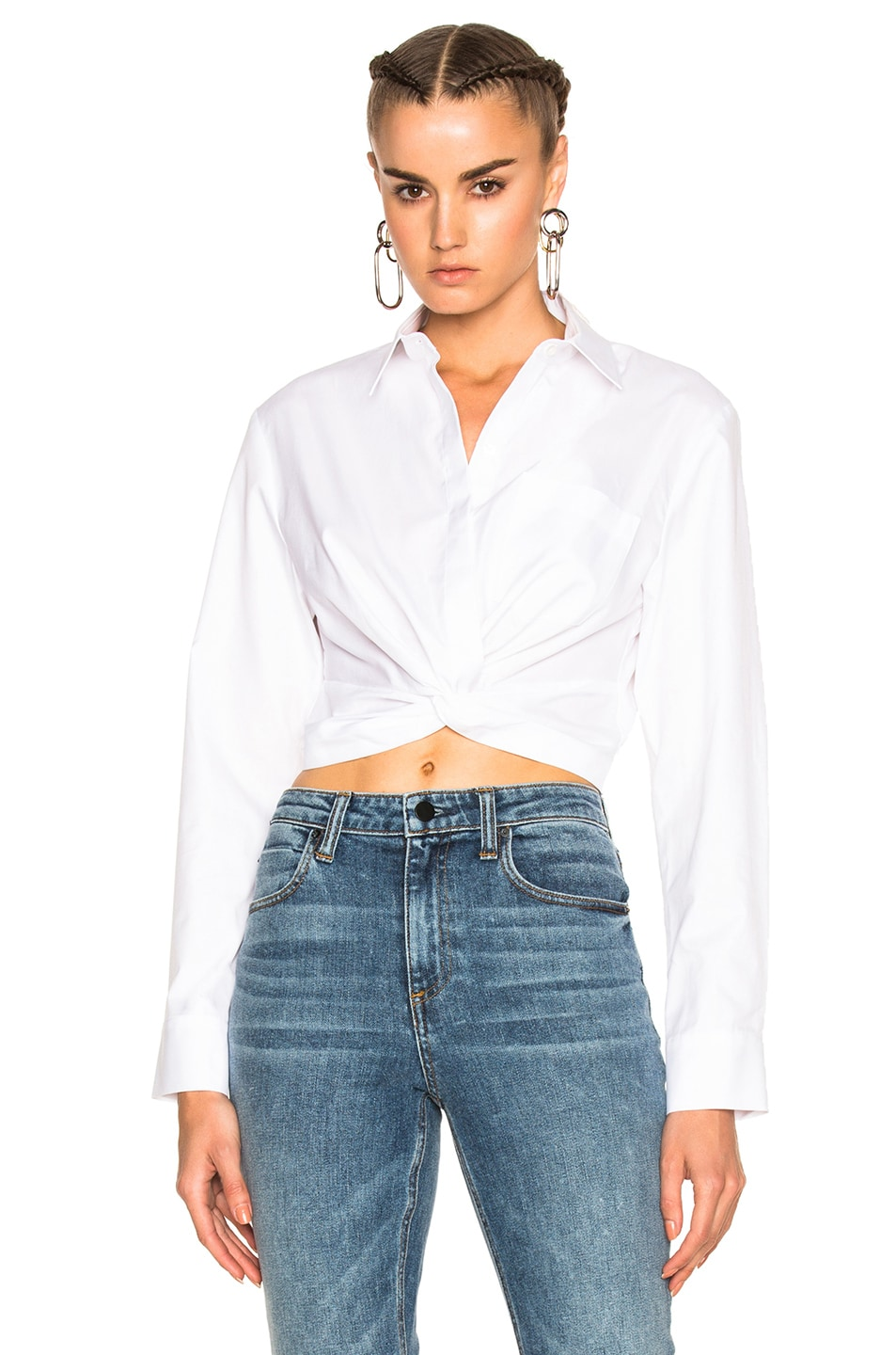 Image 1 of T by Alexander Wang Cotton Twill Twist Front Long Sleeve Shirt in White