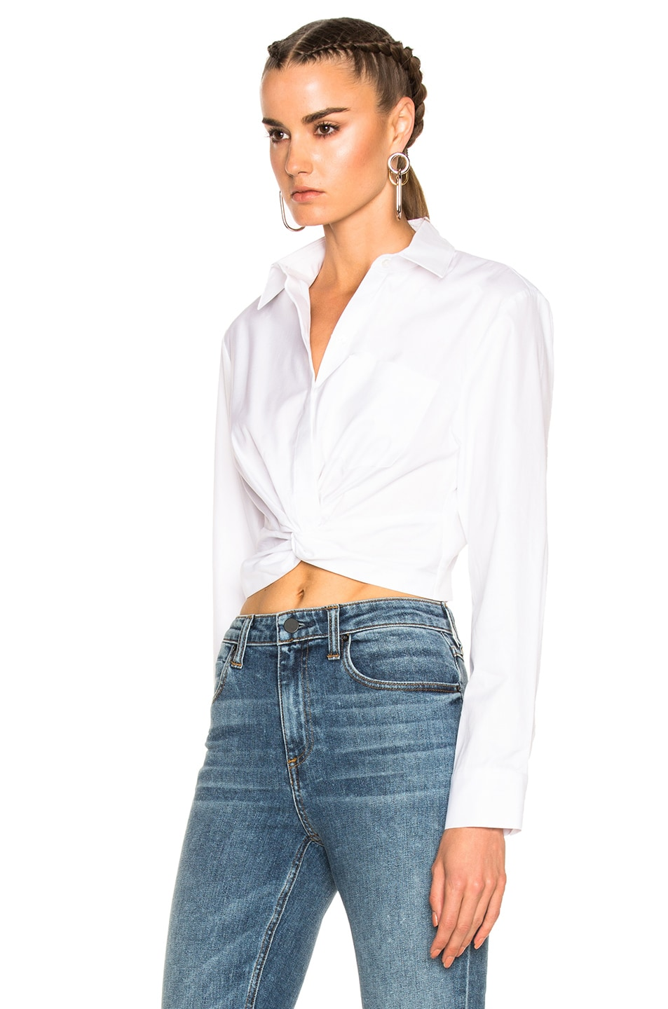 Image 2 of T by Alexander Wang Cotton Twill Twist Front Long Sleeve Shirt in White