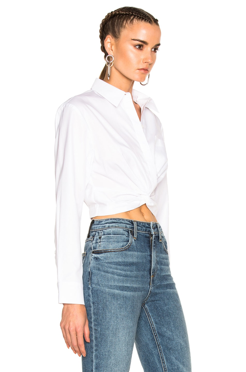 Image 3 of T by Alexander Wang Cotton Twill Twist Front Long Sleeve Shirt in White