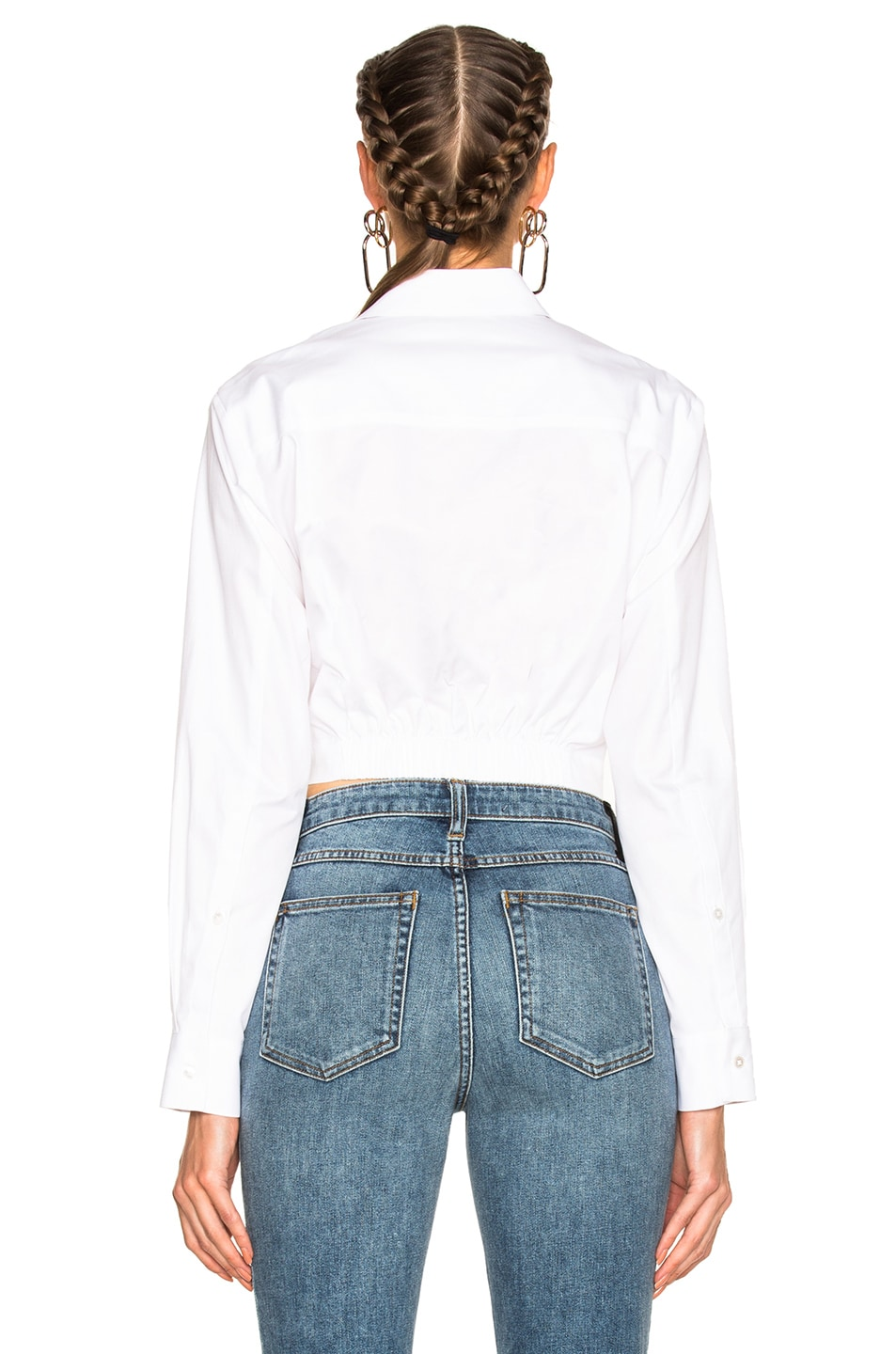 Image 4 of T by Alexander Wang Cotton Twill Twist Front Long Sleeve Shirt in White