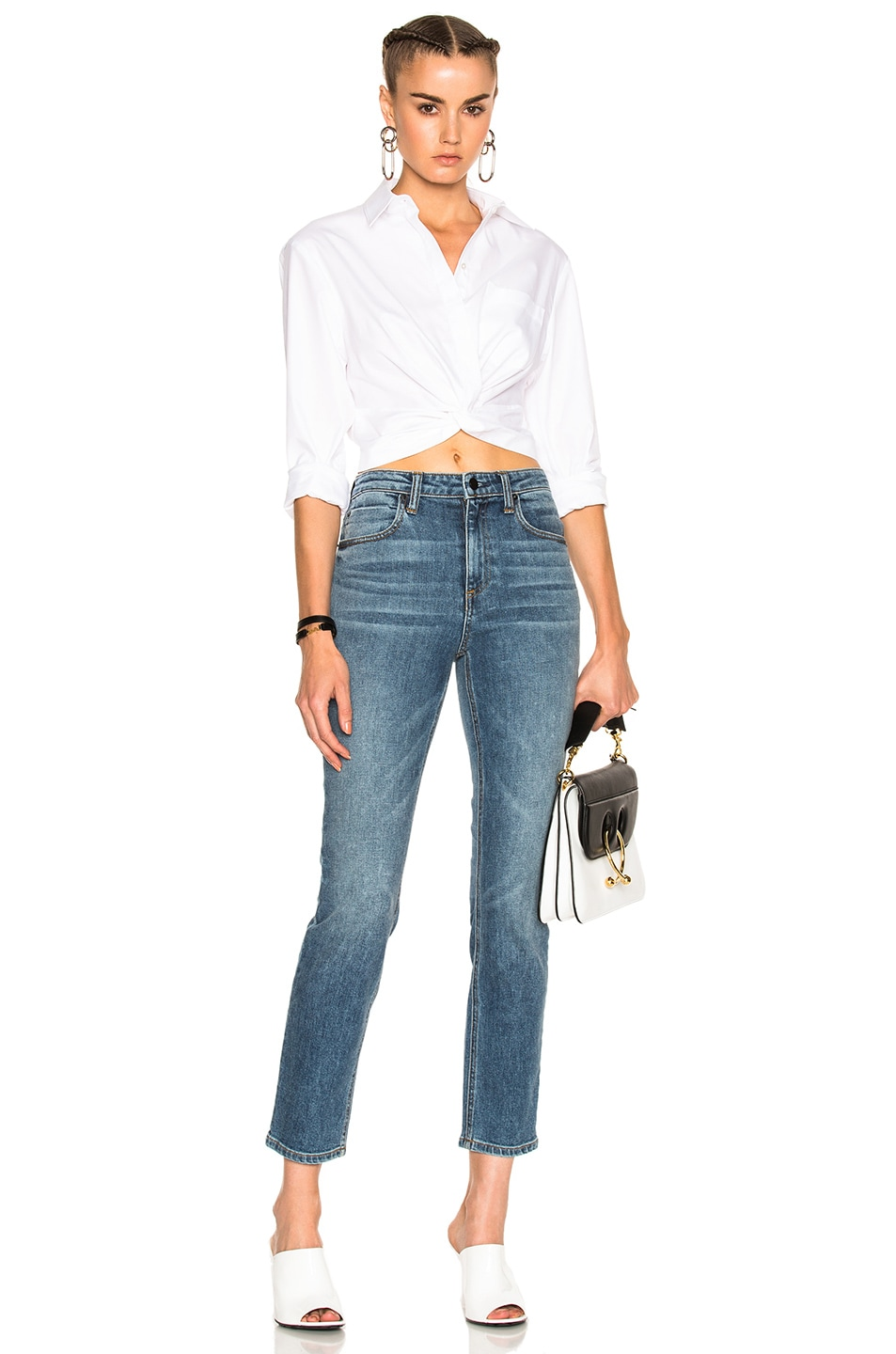Image 5 of T by Alexander Wang Cotton Twill Twist Front Long Sleeve Shirt in White