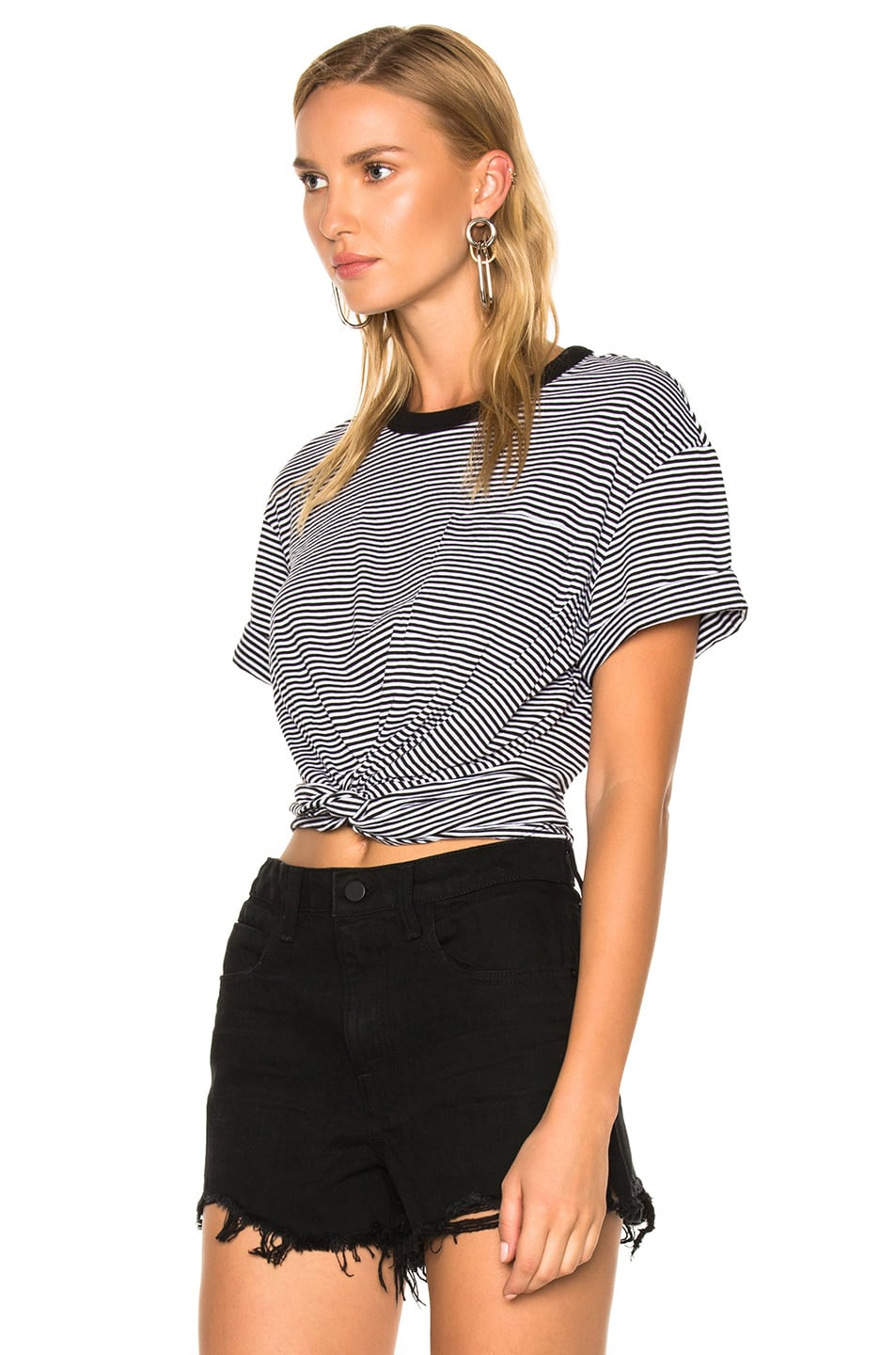 Image 2 of T by Alexander Wang Cotton Jersey Twist Front Short Sleeve Tee in Black & White
