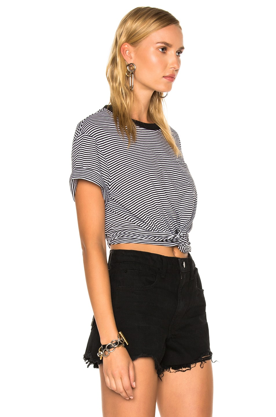 Image 3 of T by Alexander Wang Cotton Jersey Twist Front Short Sleeve Tee in Black & White