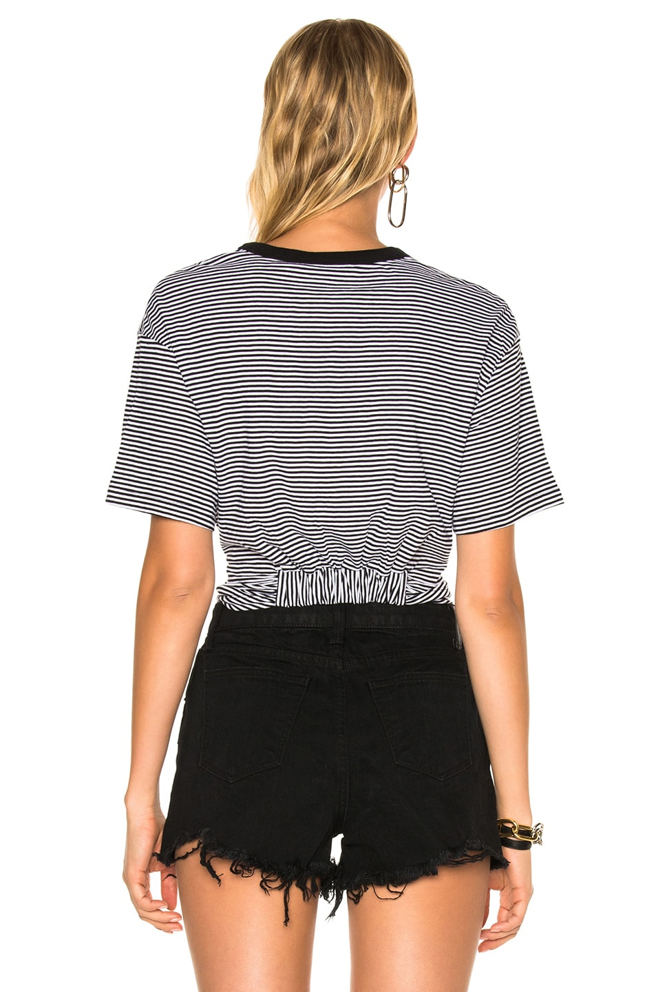 Image 4 of T by Alexander Wang Cotton Jersey Twist Front Short Sleeve Tee in Black & White