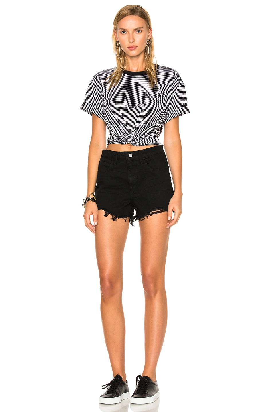 Image 5 of T by Alexander Wang Cotton Jersey Twist Front Short Sleeve Tee in Black & White