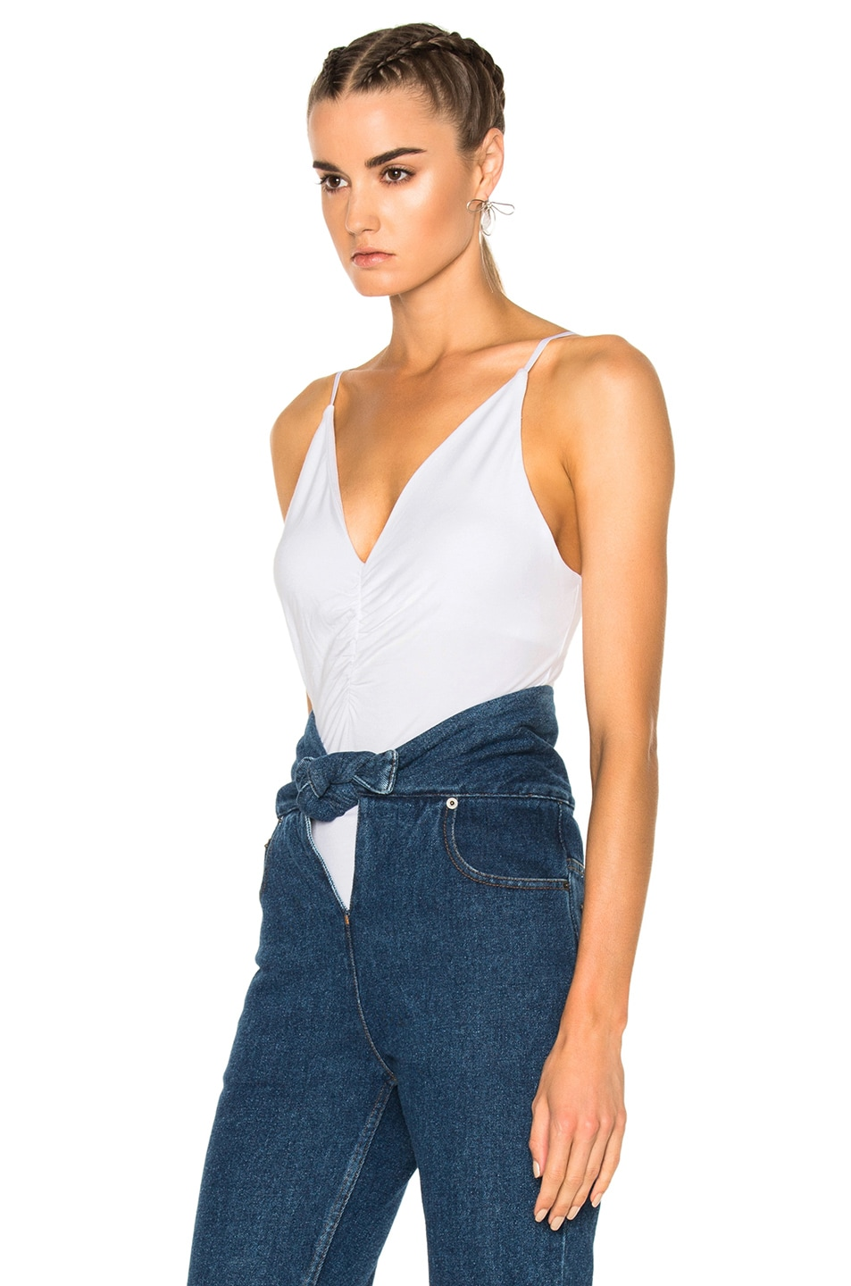 Image 2 of T by Alexander Wang Micro Modal Spandex Shirred Front Camisole in White