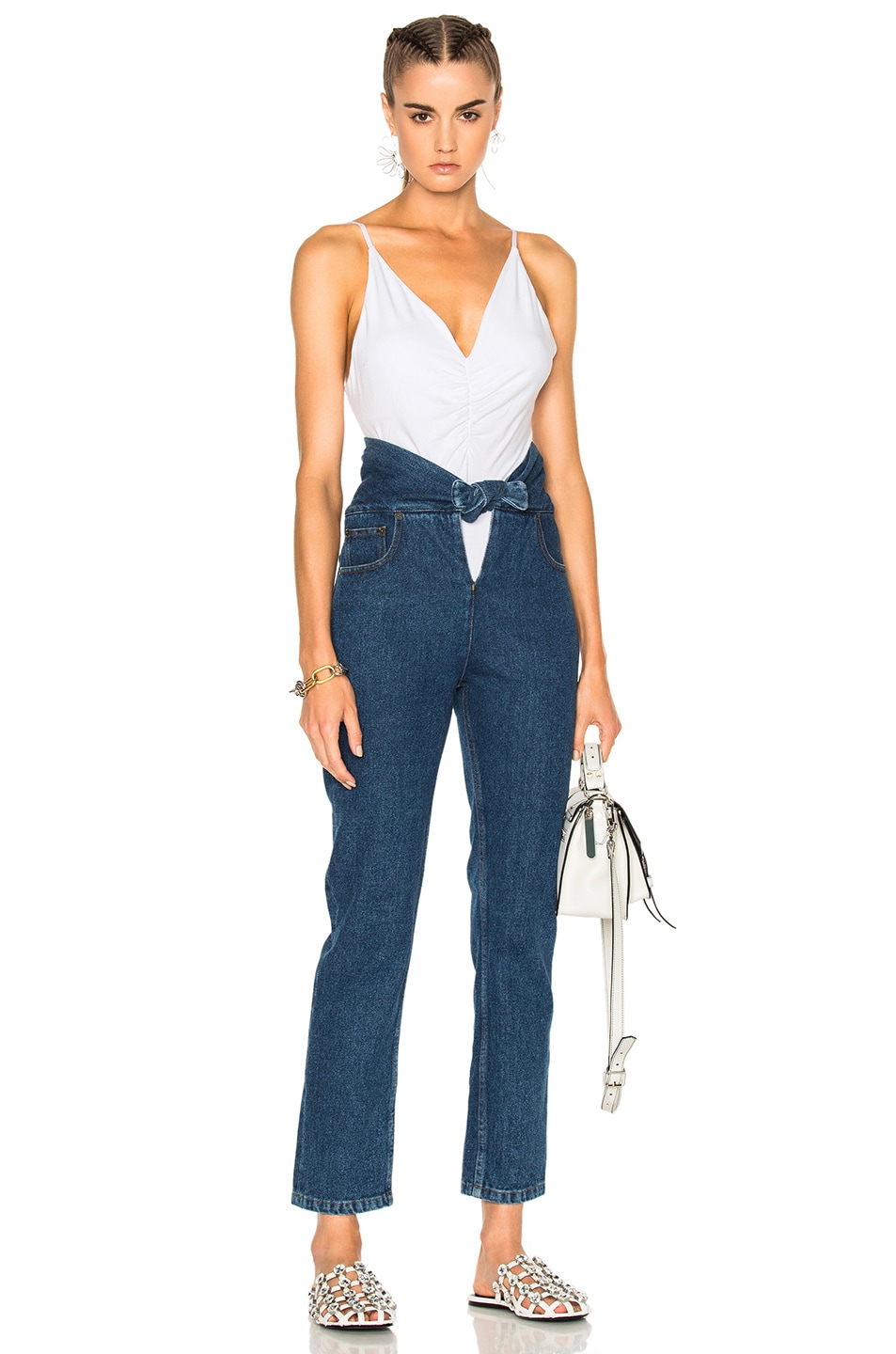 Image 5 of T by Alexander Wang Micro Modal Spandex Shirred Front Camisole in White