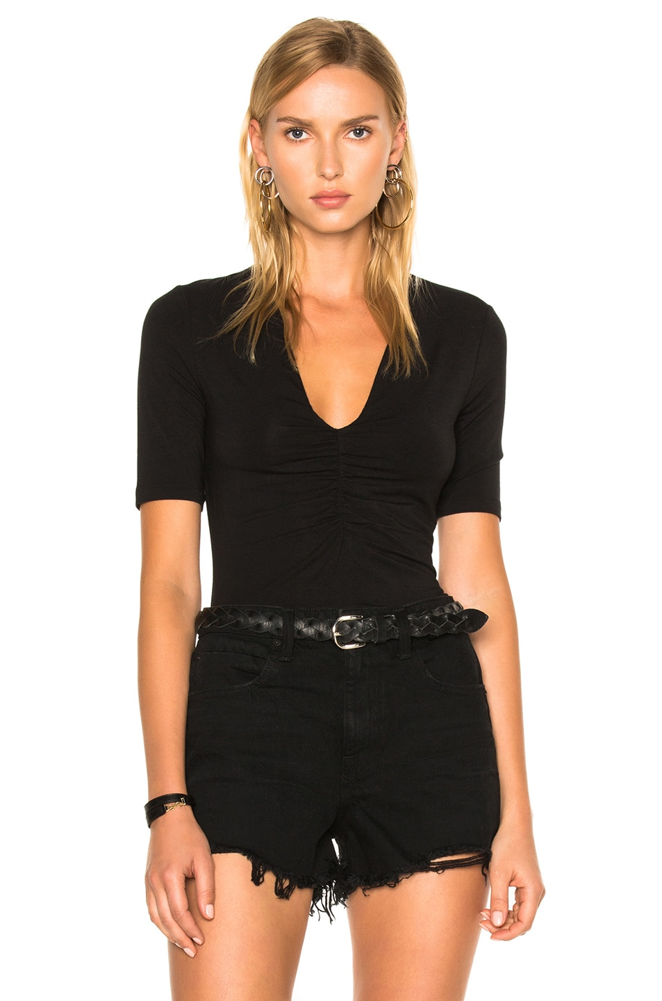 Image 1 of T by Alexander Wang Modal Spandex Shirred Front Short Sleeve Top in Black