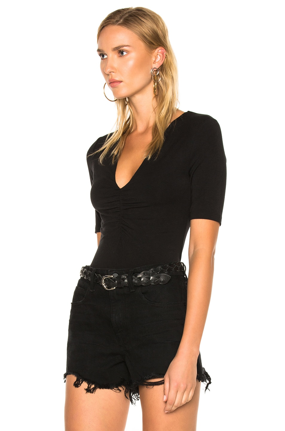 Image 2 of T by Alexander Wang Modal Spandex Shirred Front Short Sleeve Top in Black