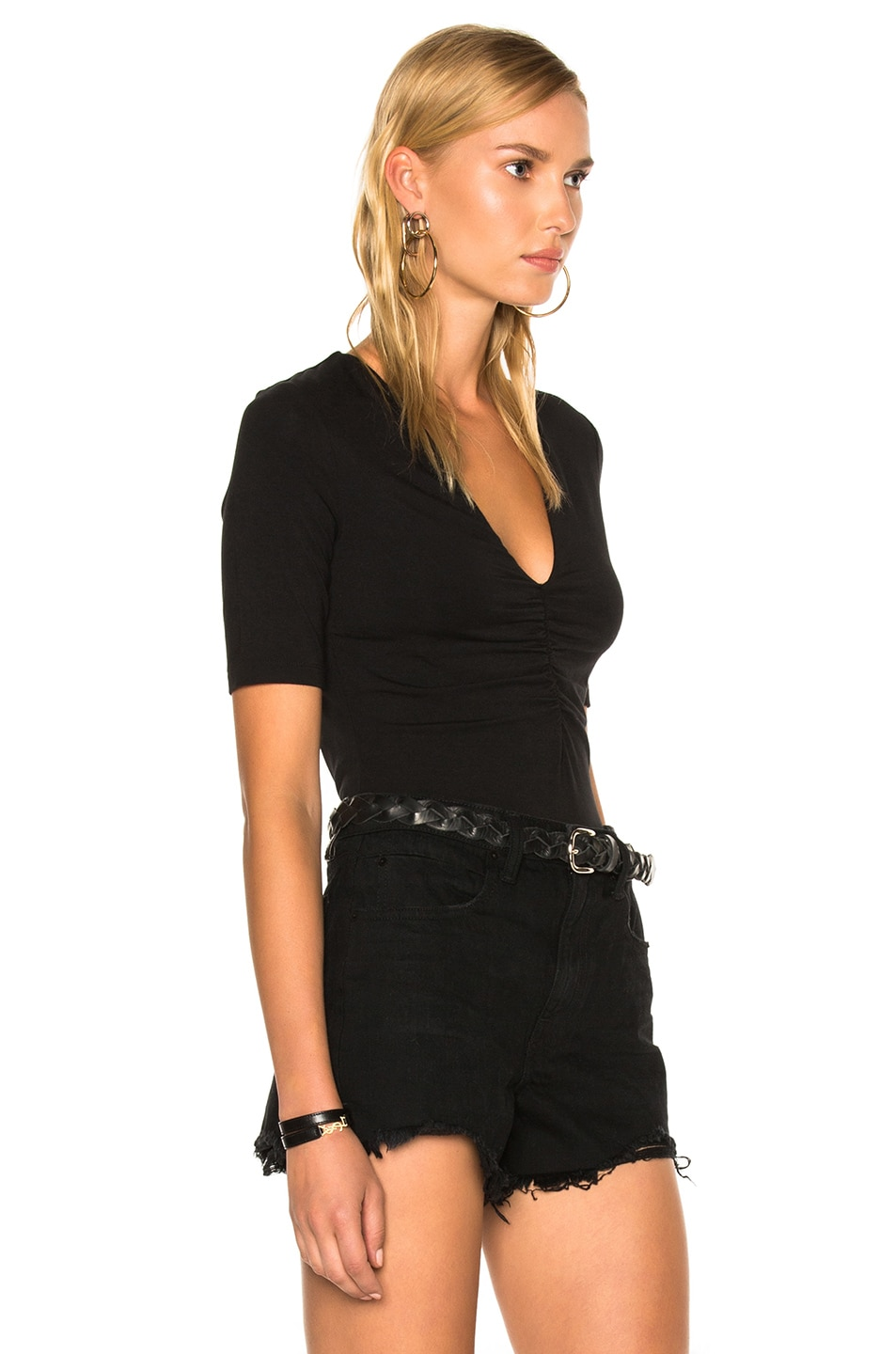 Image 3 of T by Alexander Wang Modal Spandex Shirred Front Short Sleeve Top in Black