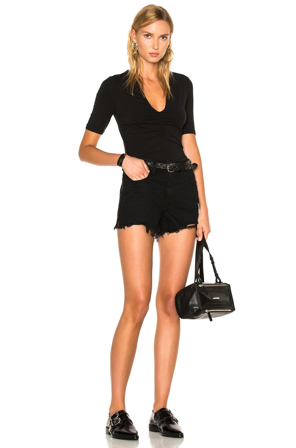 Image 5 of T by Alexander Wang Modal Spandex Shirred Front Short Sleeve Top in Black