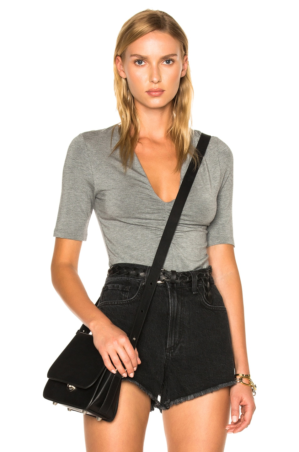 Image 1 of T by Alexander Wang Modal Spandex Shirred Front Short Sleeve Top in Heather Gray