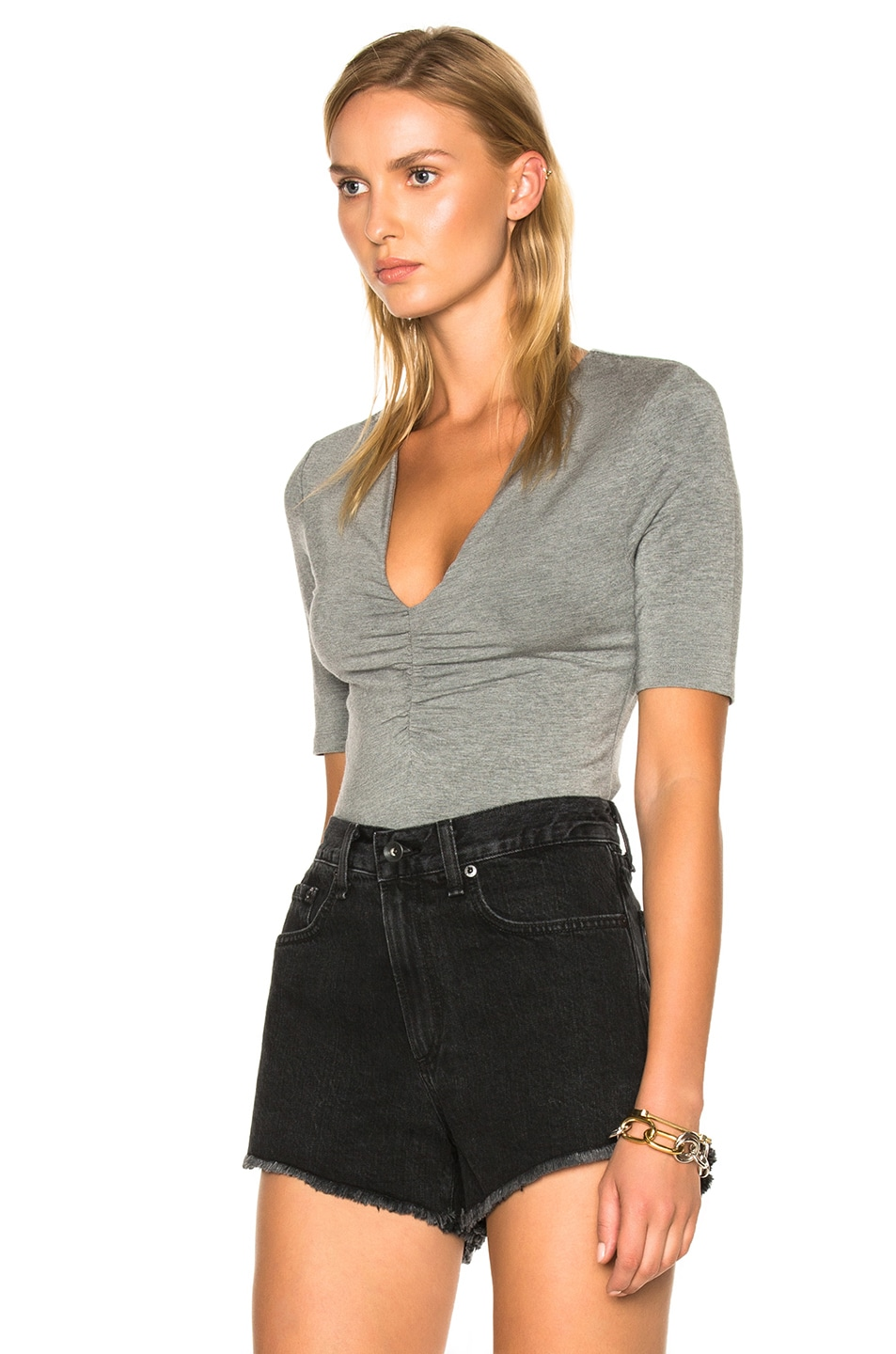 Image 2 of T by Alexander Wang Modal Spandex Shirred Front Short Sleeve Top in Heather Gray