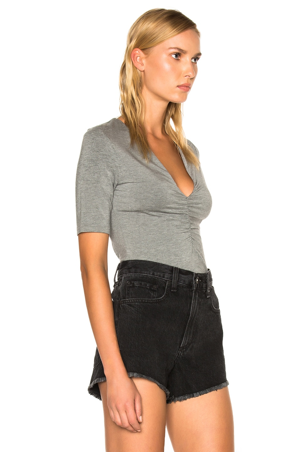 Image 3 of T by Alexander Wang Modal Spandex Shirred Front Short Sleeve Top in Heather Gray