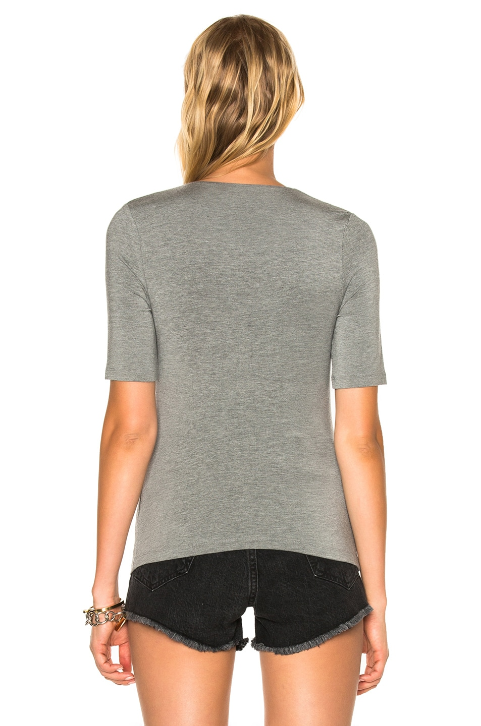 Image 4 of T by Alexander Wang Modal Spandex Shirred Front Short Sleeve Top in Heather Gray