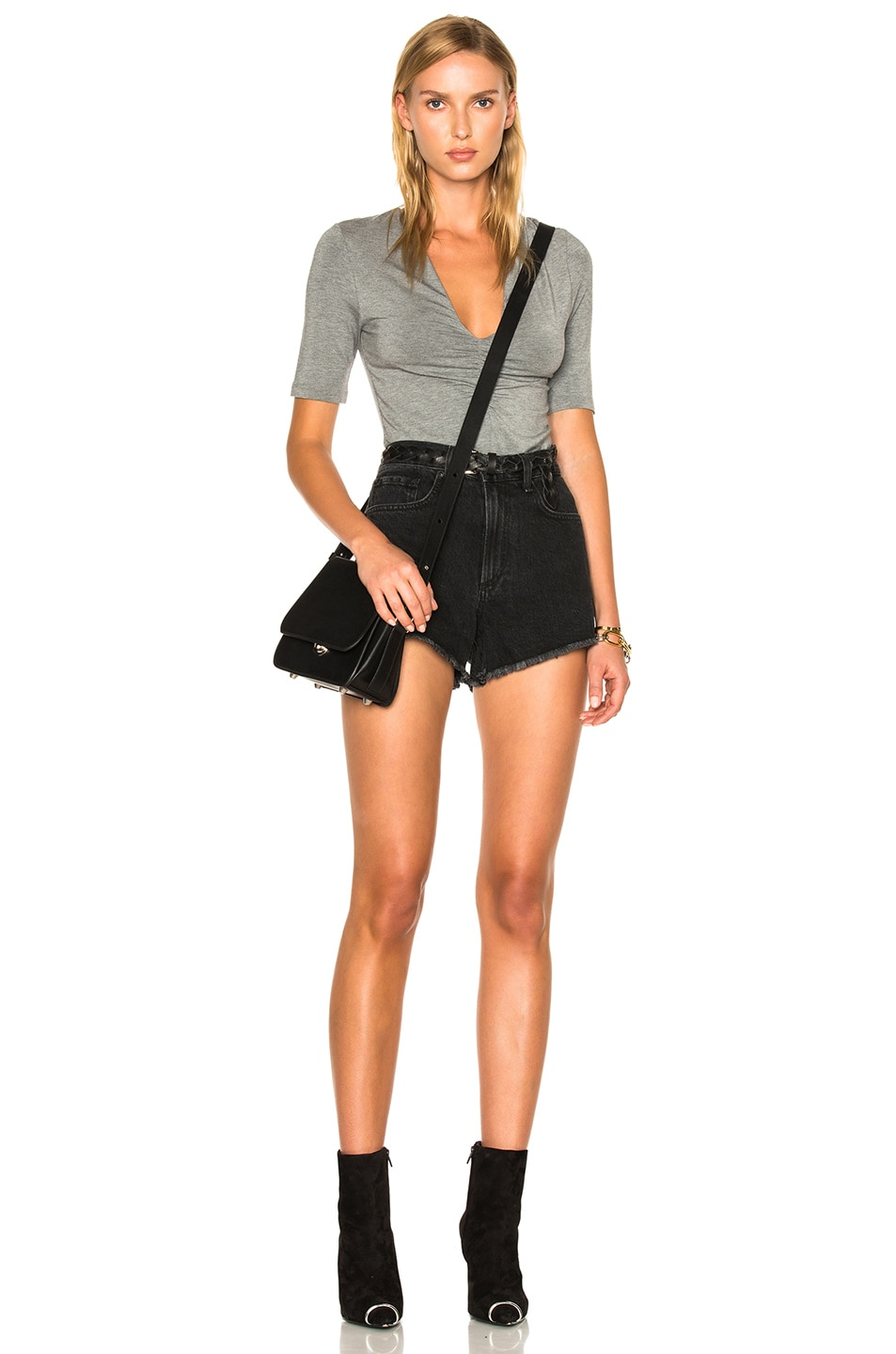 Image 5 of T by Alexander Wang Modal Spandex Shirred Front Short Sleeve Top in Heather Gray