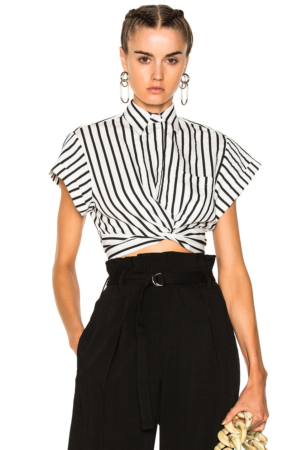 Image 1 of T by Alexander Wang Striped Cotton Twist Front Crop Short Sleeve Shirt in Black & White
