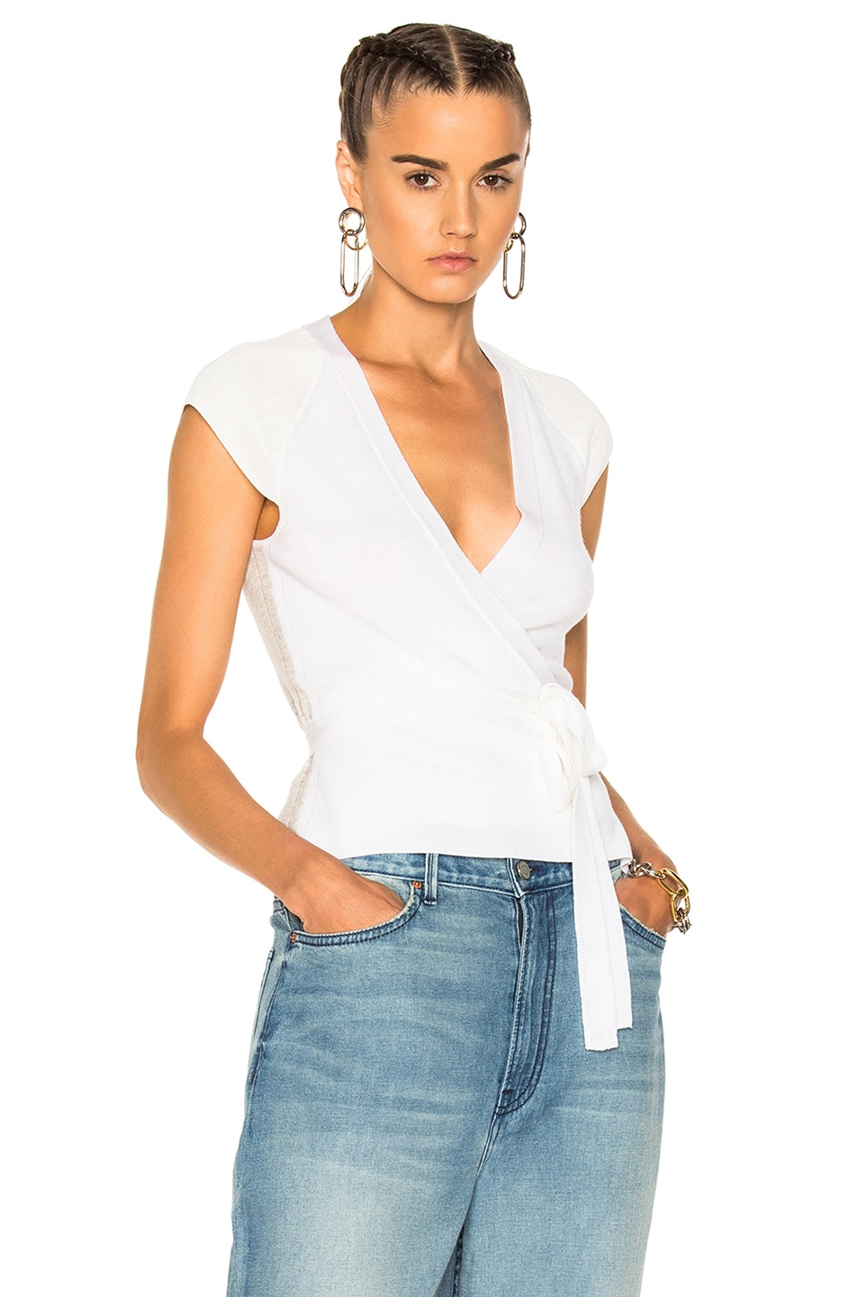 Image 1 of T by Alexander Wang Triple Combo Rib Knit Wrap Cap Sleeve Top in Ivory