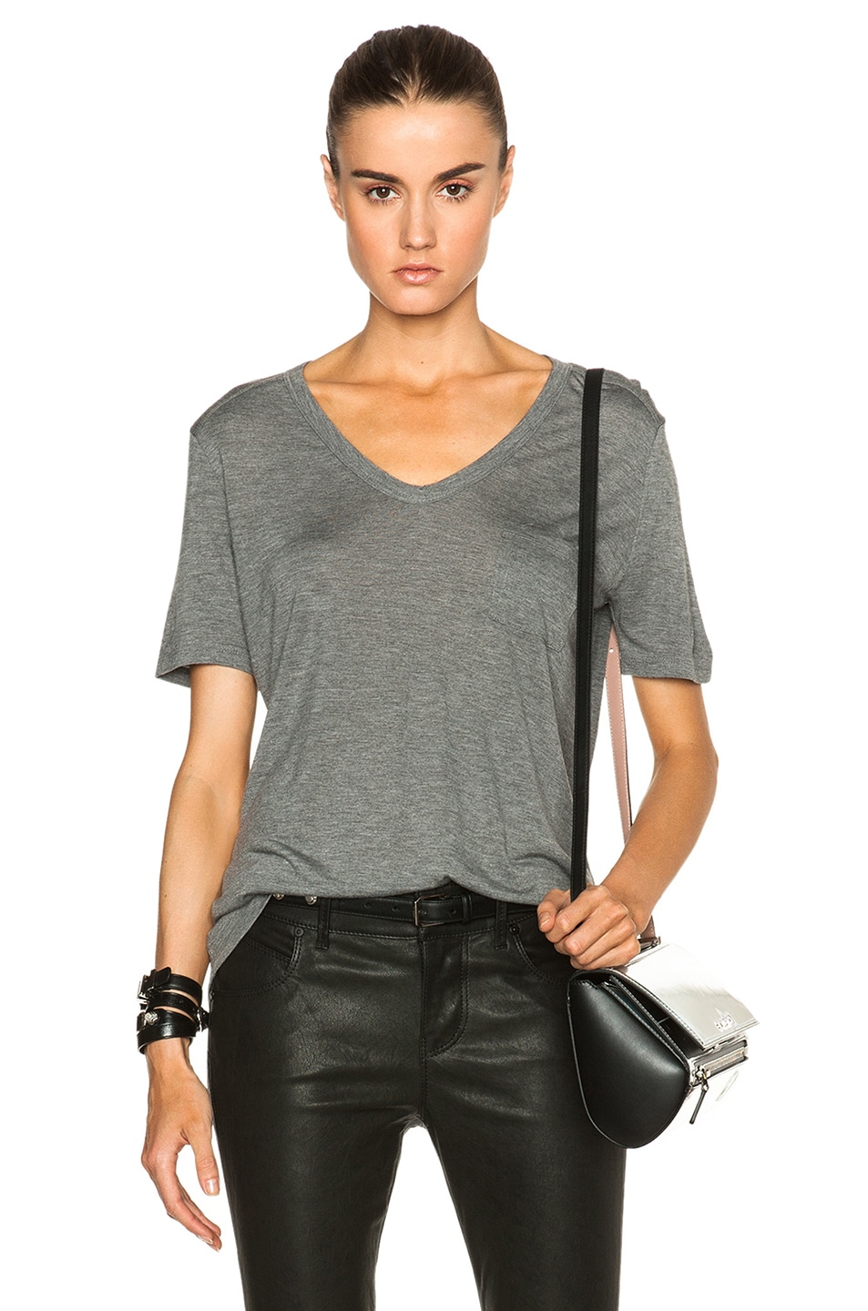 Image 1 of T by Alexander Wang Classic Viscose Tee with Pocket in Heather Grey