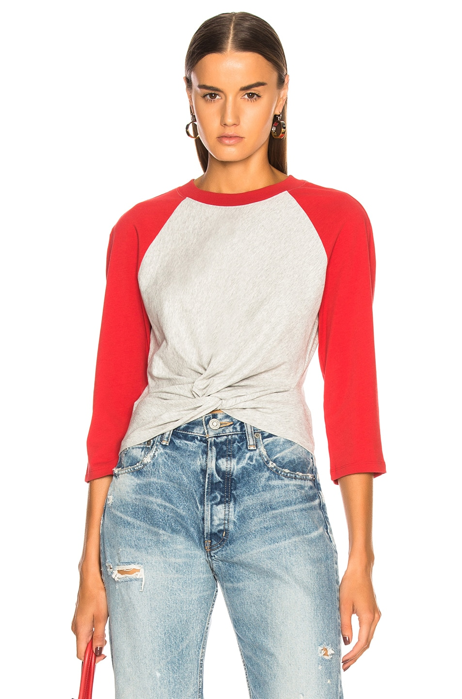 High Twist Jersey Top in Gray,Red Alexander Wang