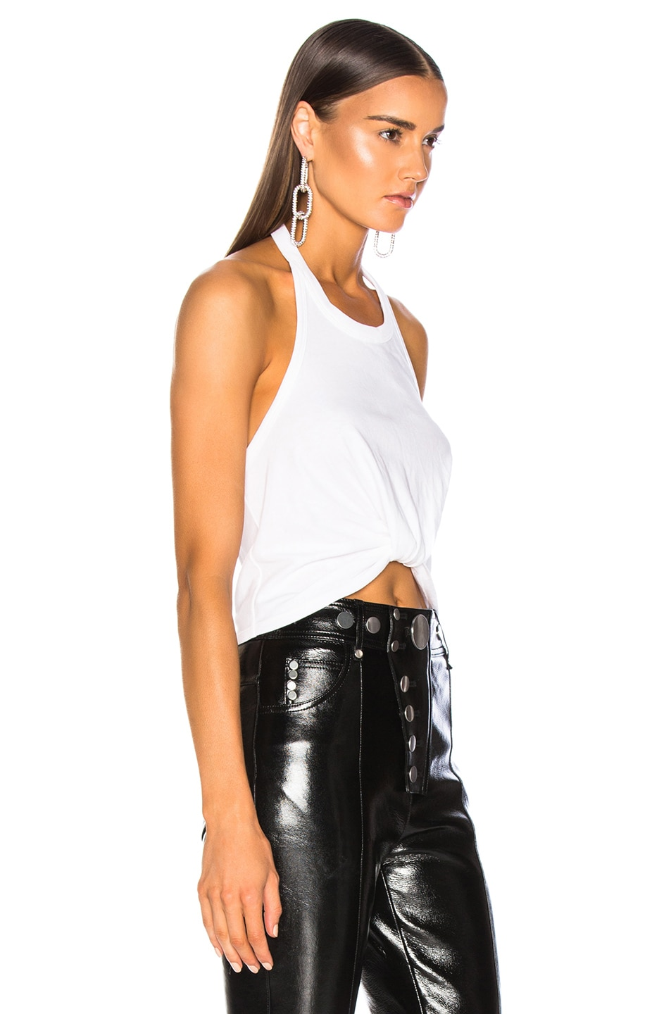 Image 3 of T by Alexander Wang High Twist Halter Top in White