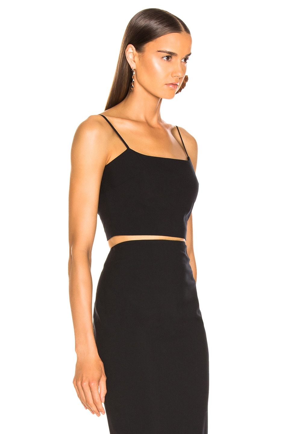 Image 2 of T by Alexander Wang Washable Wool Crop Top in Black
