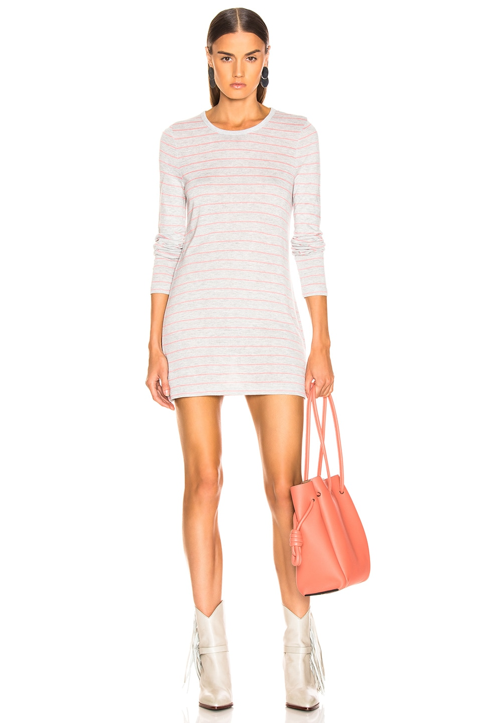 Image 1 of T by Alexander Wang Thin Striped Long Sleeve Tee in Grey & Hot Pink