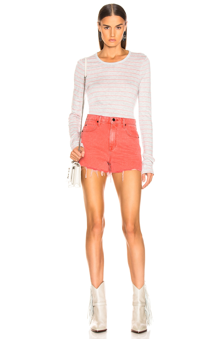 Image 2 of T by Alexander Wang Thin Striped Long Sleeve Tee in Grey & Hot Pink