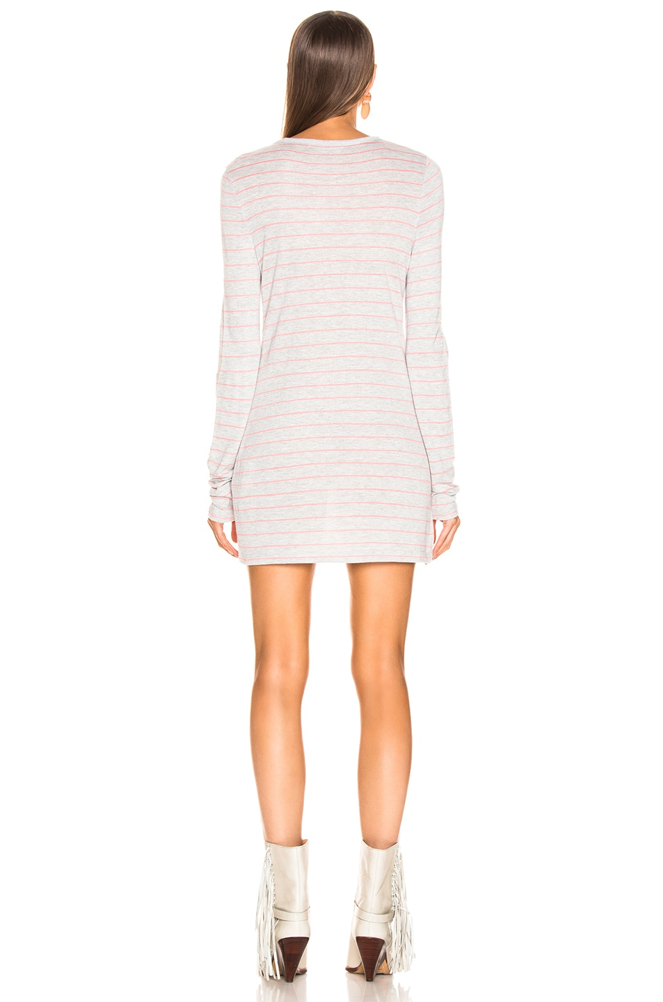 Image 4 of T by Alexander Wang Thin Striped Long Sleeve Tee in Grey & Hot Pink