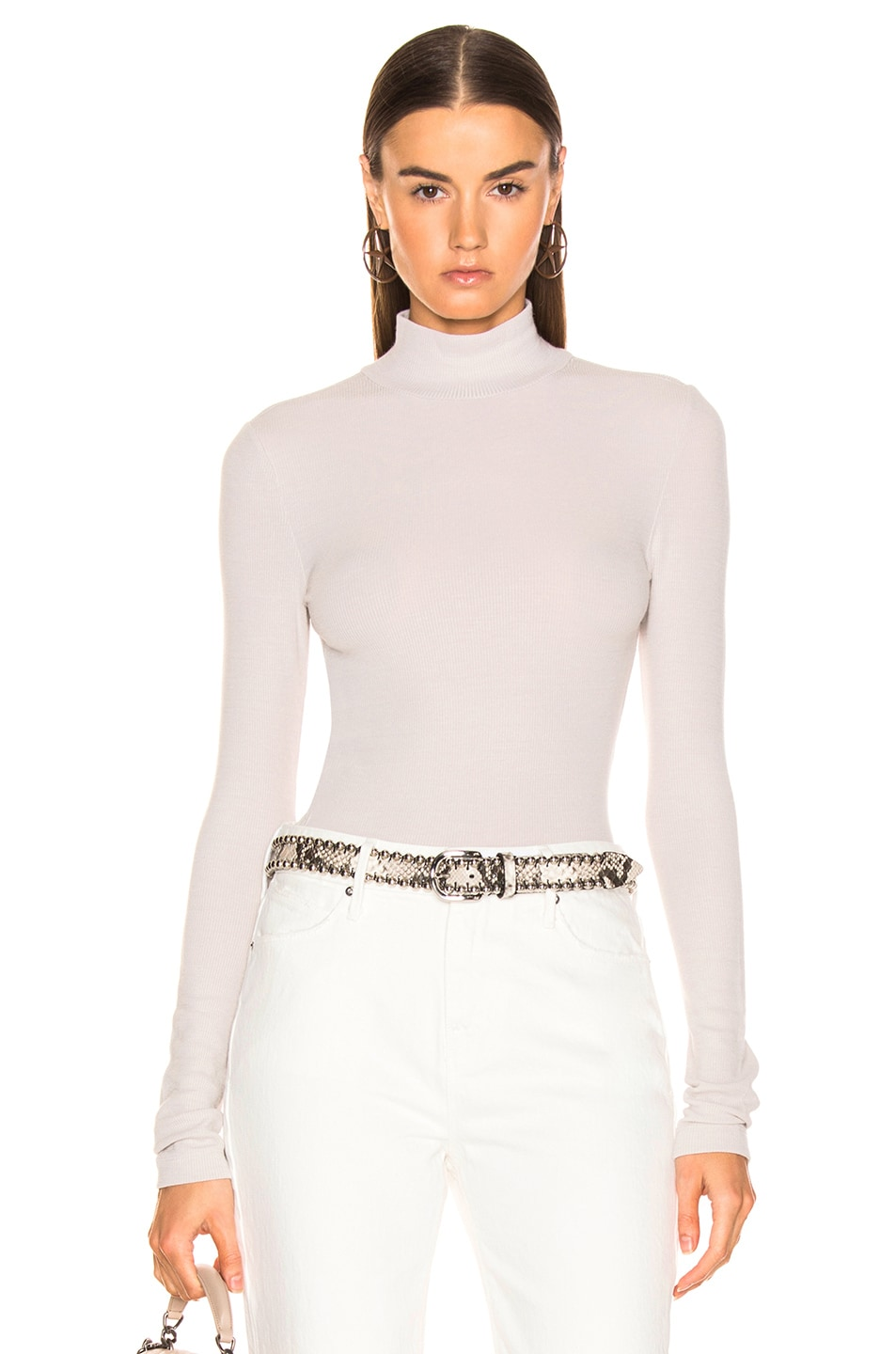 Image 1 of T by Alexander Wang Long Sleeve Turtleneck Top in Putty