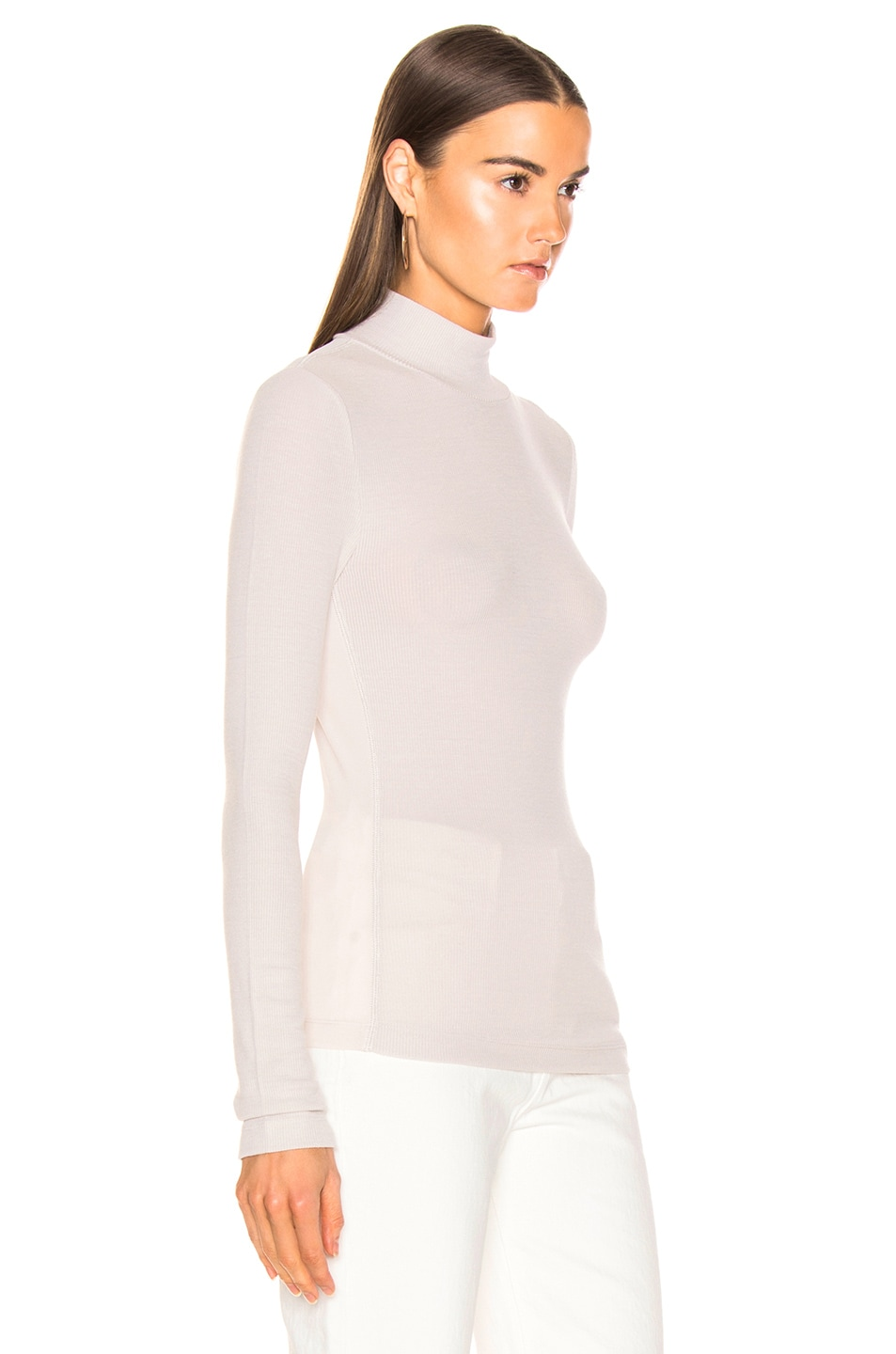 Image 2 of T by Alexander Wang Long Sleeve Turtleneck Top in Putty