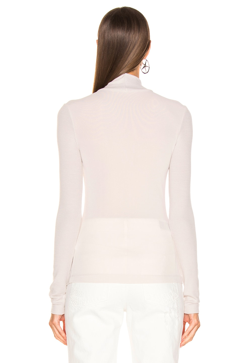 Image 3 of T by Alexander Wang Long Sleeve Turtleneck Top in Putty