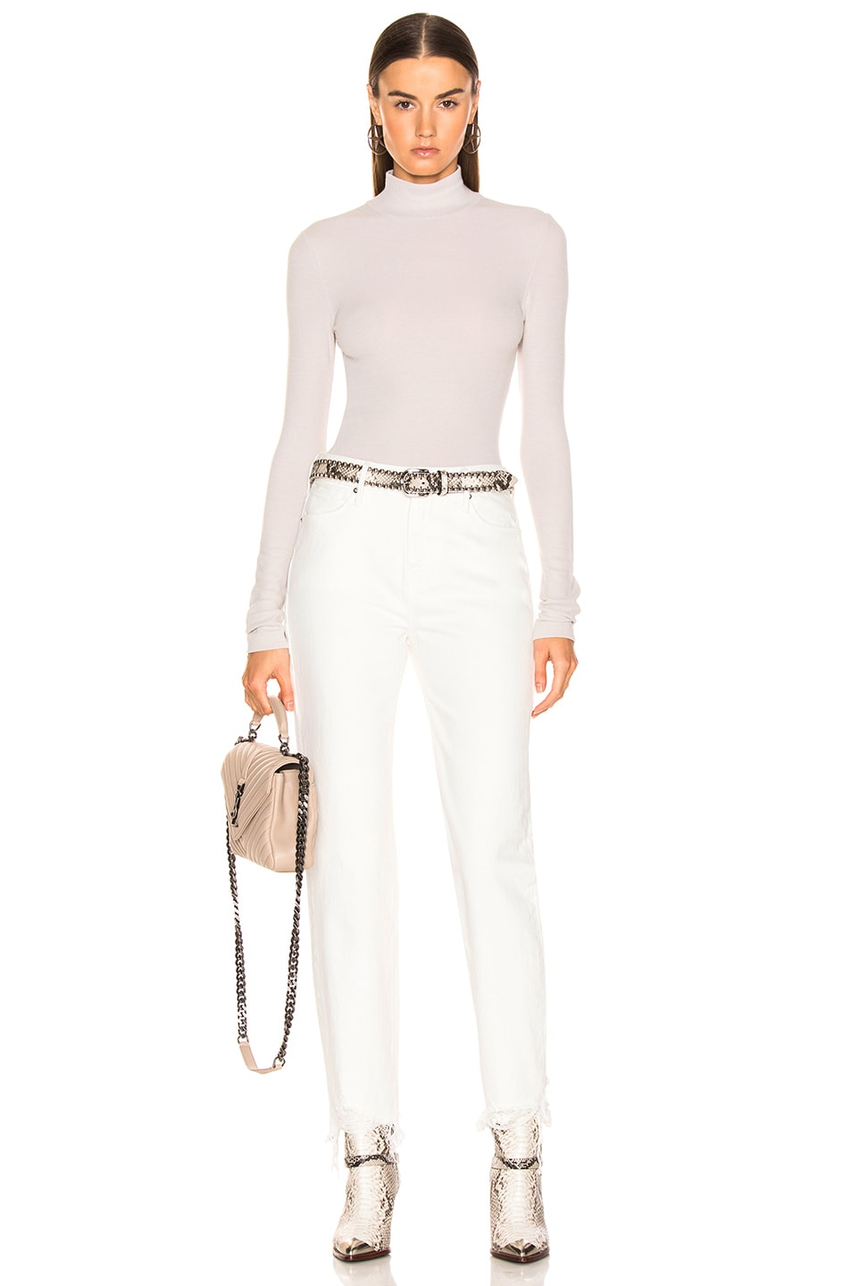 Image 4 of T by Alexander Wang Long Sleeve Turtleneck Top in Putty