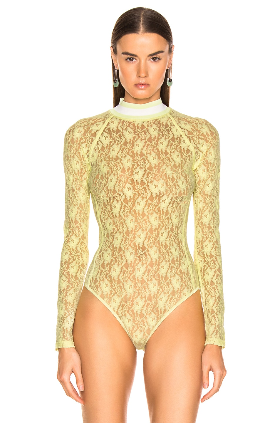 Image 2 of T by Alexander Wang Lace Bodysuit in Lime