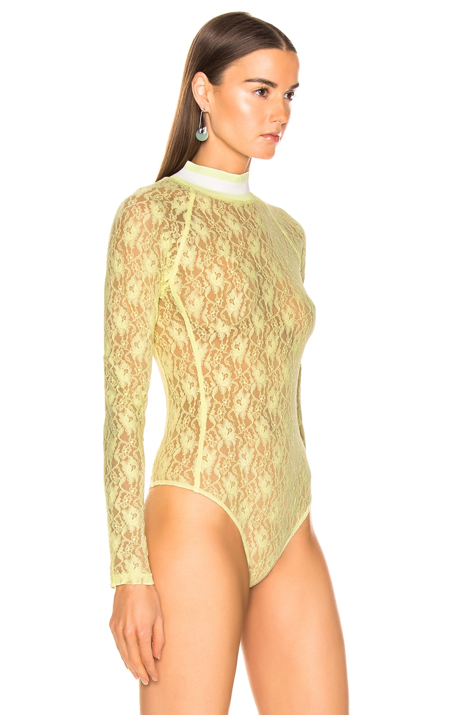 Image 3 of T by Alexander Wang Lace Bodysuit in Lime