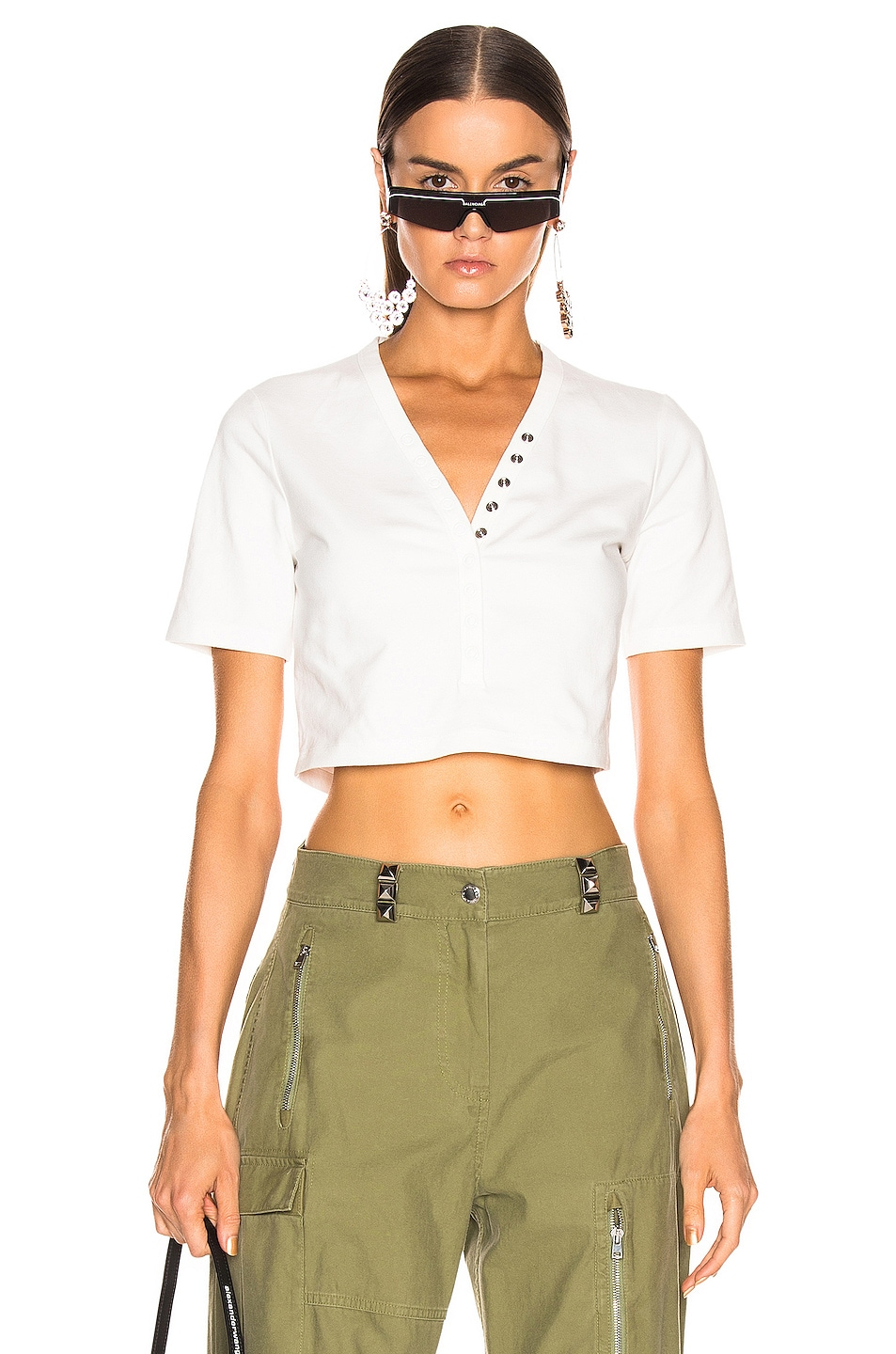 T By Alexander Wang Snaps Short Sleeve Top