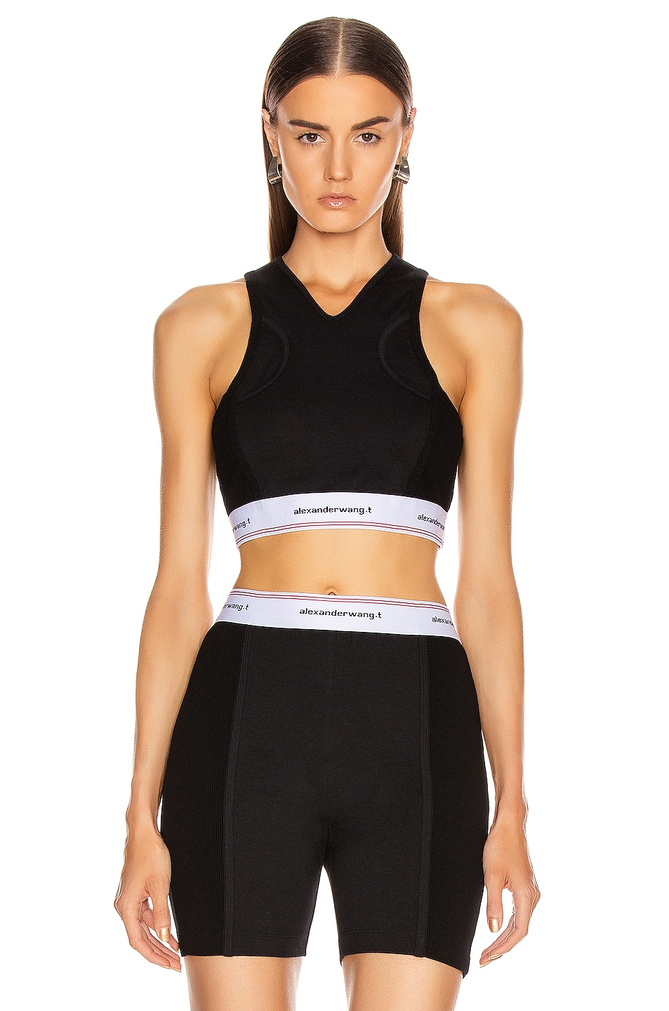 Image 1 of T by Alexander Wang Wash and Go Compact Rib Top in Black