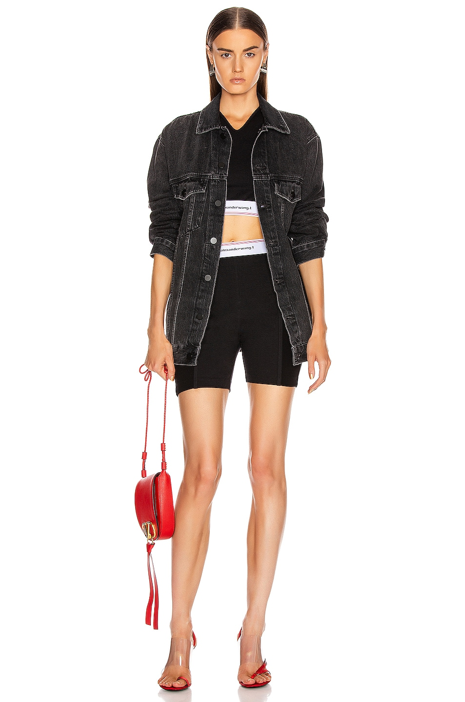 Image 4 of T by Alexander Wang Wash and Go Compact Rib Top in Black